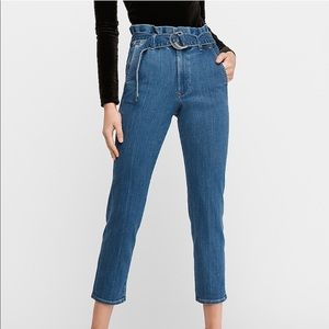 High Waisted Paper Bag Ankle Jeans
